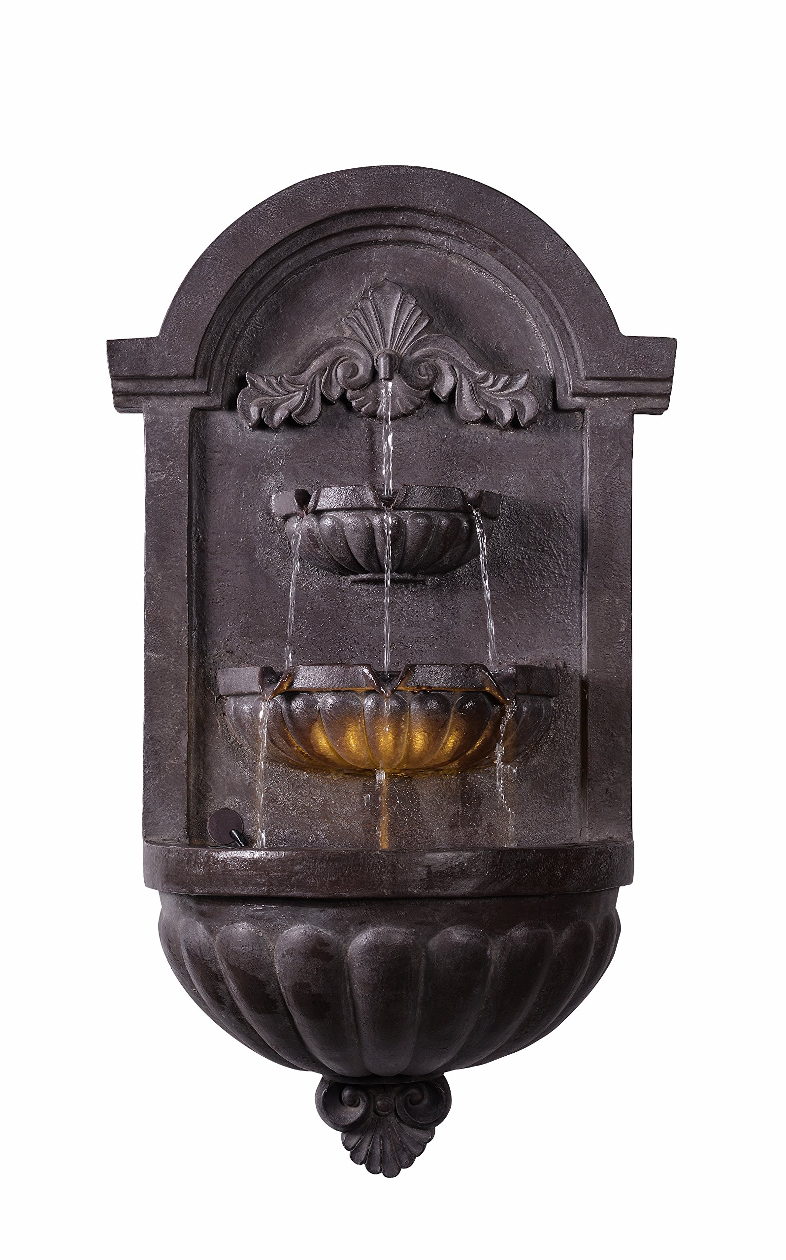 Kenroy Home Classic Indoor/ Outdoor Wall Fountain ,35 Inch Height, 19.5 Inch Width, 9 Inch Ext. with Plum Bronze Finish - TRADITIONAL VILLA RESIN FOUNTAIN: This dark plum bronze patio fountain with a floral design matches the textured surface paint and helps to resist fading and potential chipping over time; Perfect for installing outdoors on the side of your shed or your fence, or indoors to use as a functional piece of porch or garden wall art DIMENSIONS: This water fountain is 35 Inch in height, 20 Inch in width and has a 10 Inch extension LED LIGHTING: The dynamic LED lighting creates an ambient light glow from within the fountain basin and can be operated independently from the pump - patio, outdoor-decor, fountains - 91EtY9PvjiL -