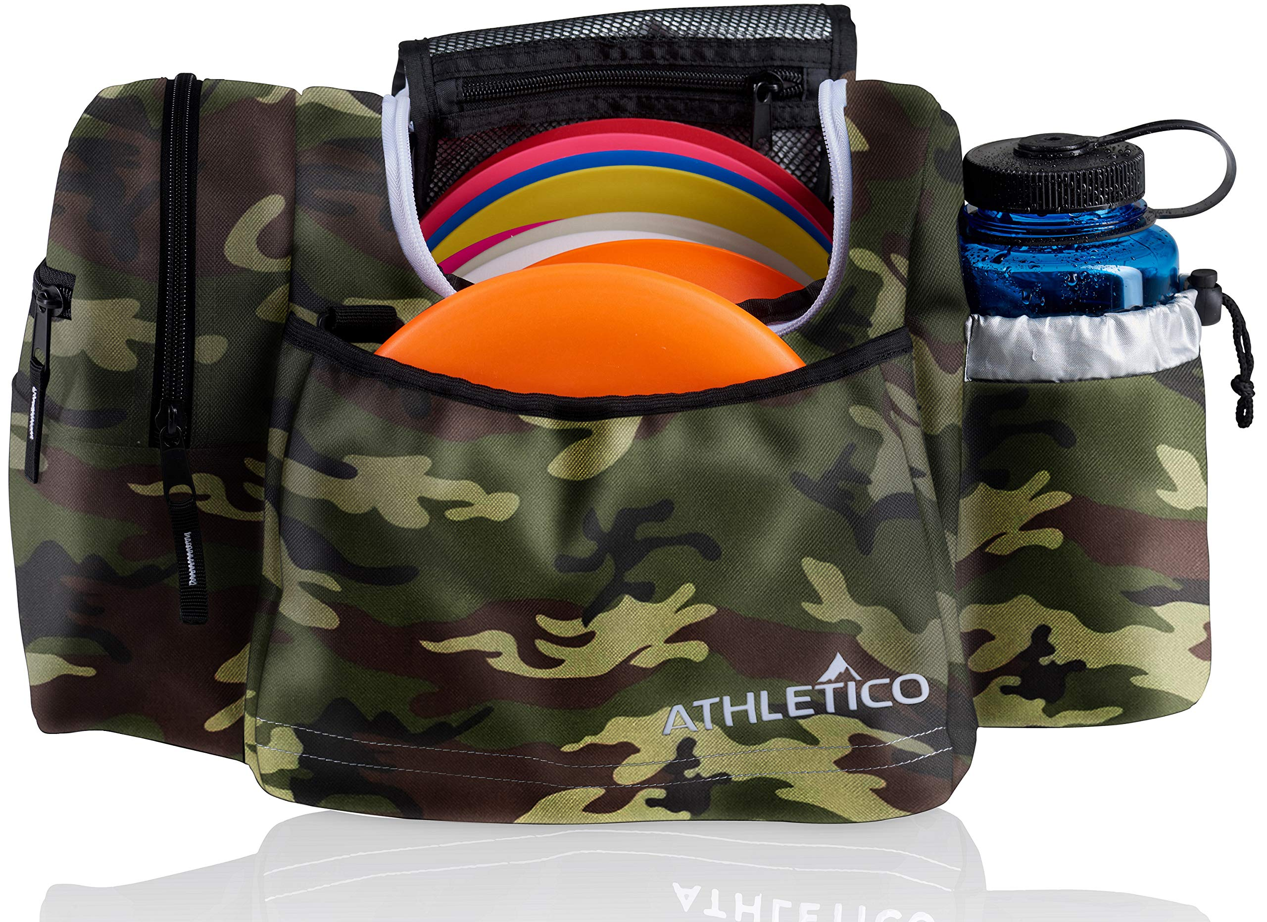 Athletico Disc Golf Bag - Tote Bag for Frisbee Golf - Holds 10-14 Discs, Water Bottle, and Accessories (Green Camo) by Athletico