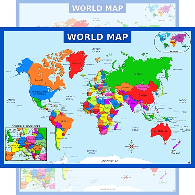 europe map in world map Amazon.com: World Map Poster with Central Europe Inset   Laminated