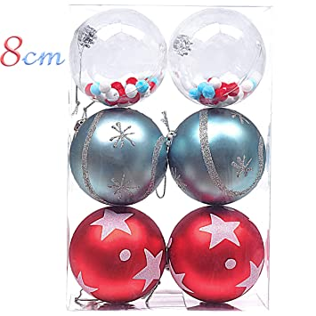 Christbaumkugeln Plastik Rot.Victor S Workshop 6 Stücke 80mm Christbaumkugeln Plastik Dekoration Weihnachten Hängende Baum Ornament Rot Blau Transparent