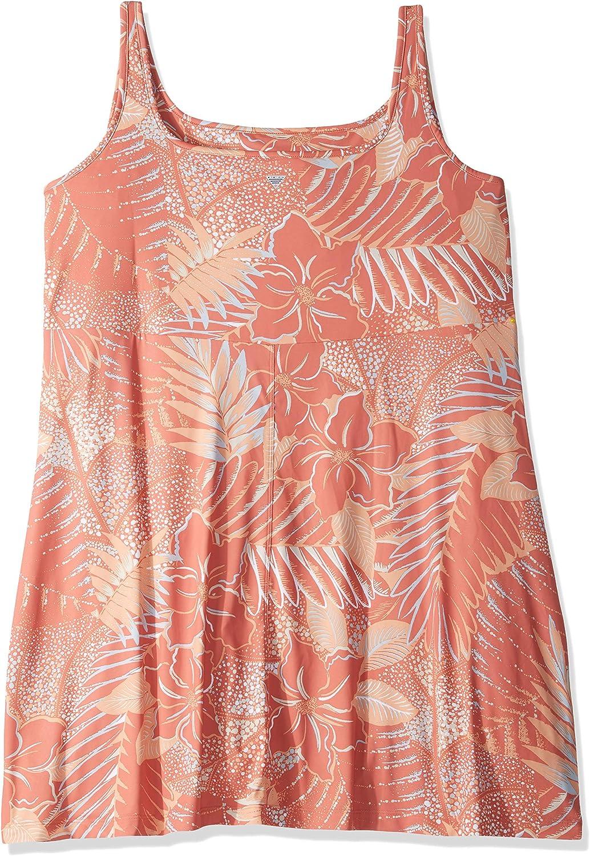 Faded Peach Hawaii Print 2X Columbia Freezer Iain Plus Size Dress