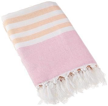 Amazon Com Lulujo Turkish Towel Pink Apricot Baby