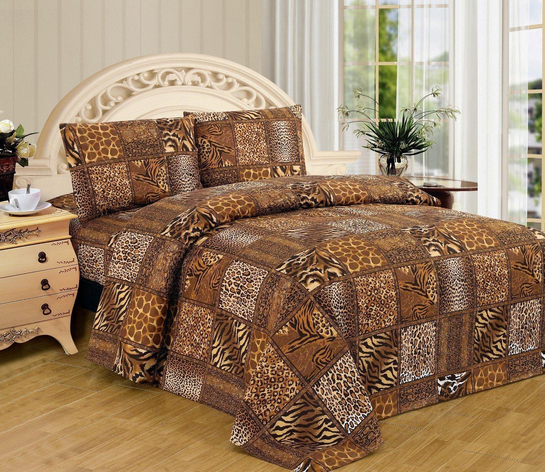 Fancy Linen Black Brown Leopard Zebra Snake Skin Sheet Set Safari Animal Print New (Twin) by Fancy Linen (Image #1)