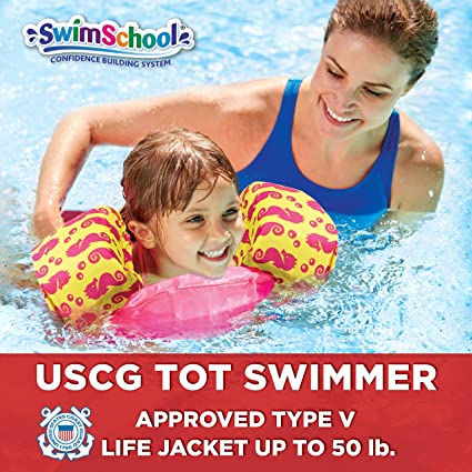 e310ec1b397 Amazon.com: SwimSchool USCG Approved TOT Swimmer with Arm Floaties, Type V  Life Jacket/PFD, Medium/Large, Pink/Yellow: Toys & Games