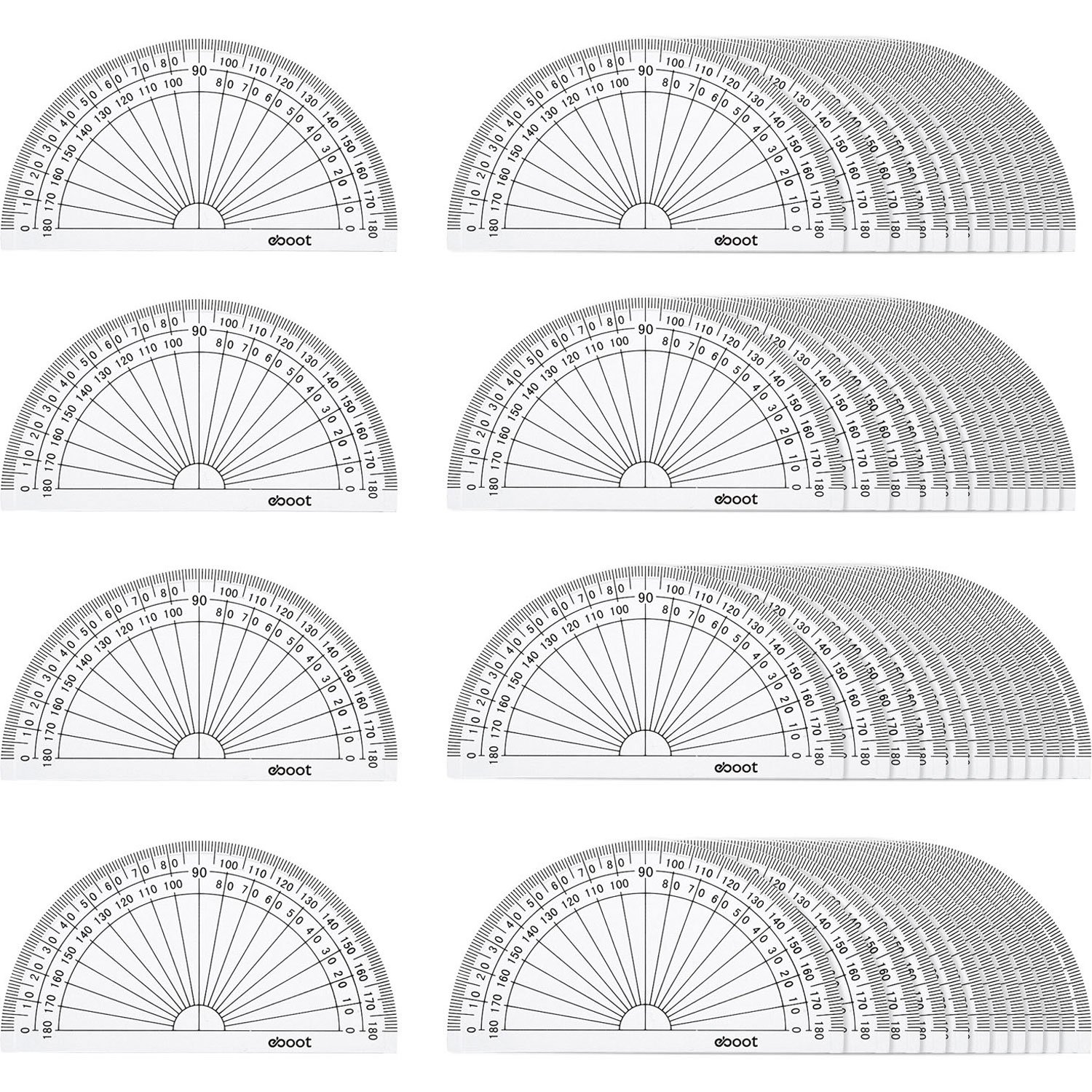 eBoot 50 Pack Math Protractors Plastic Protractor 180 Degrees, 4 Inches, Clear by eBoot