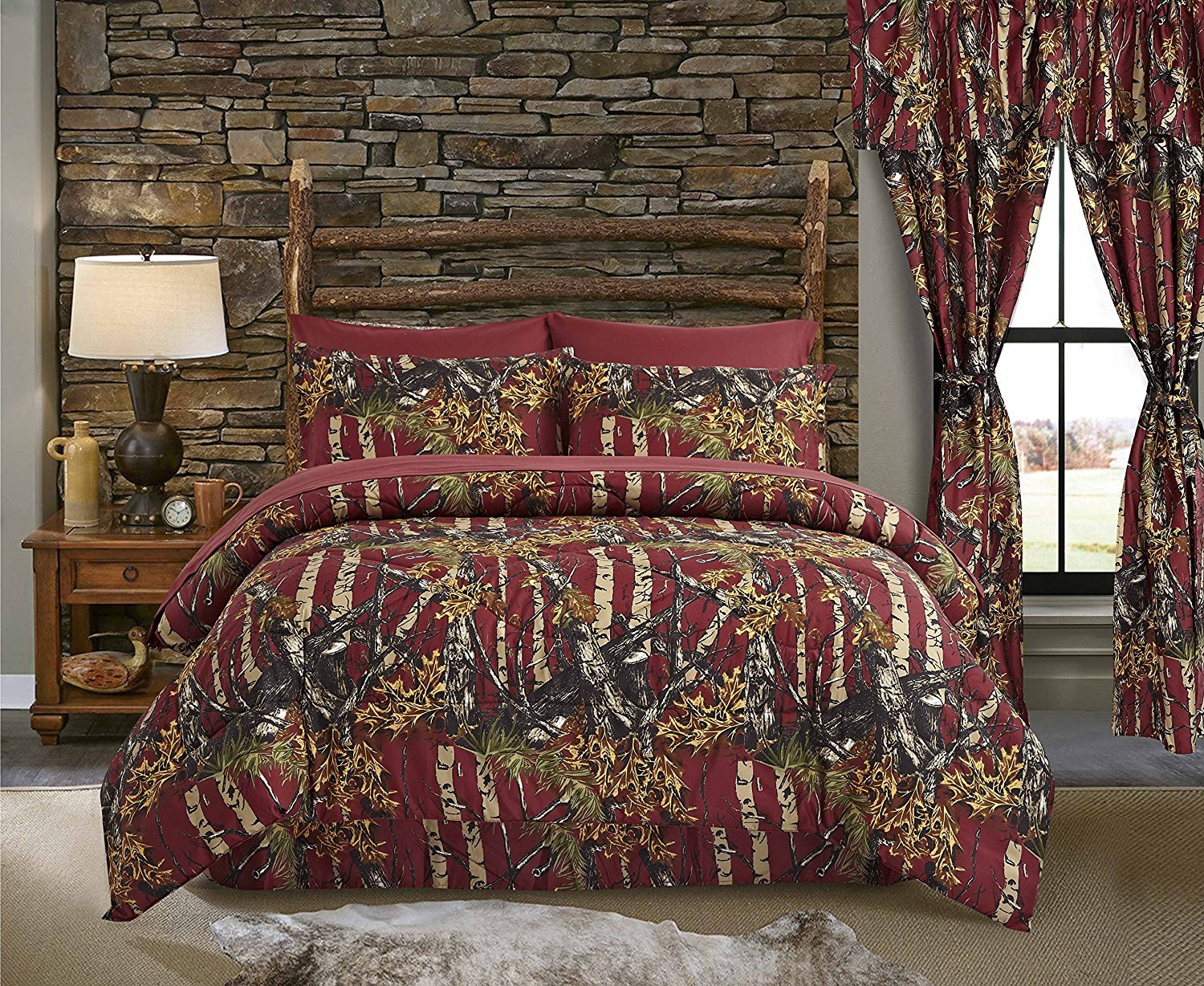 The Woods Burgundy Camouflage King 8pc Premium Luxury Comforter