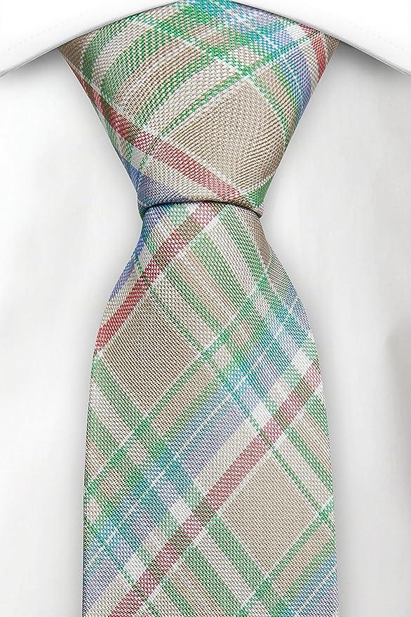 Mouchoir - Beige, Vert, Blanc, Rouge, Bleu À Carreaux Madras Cran