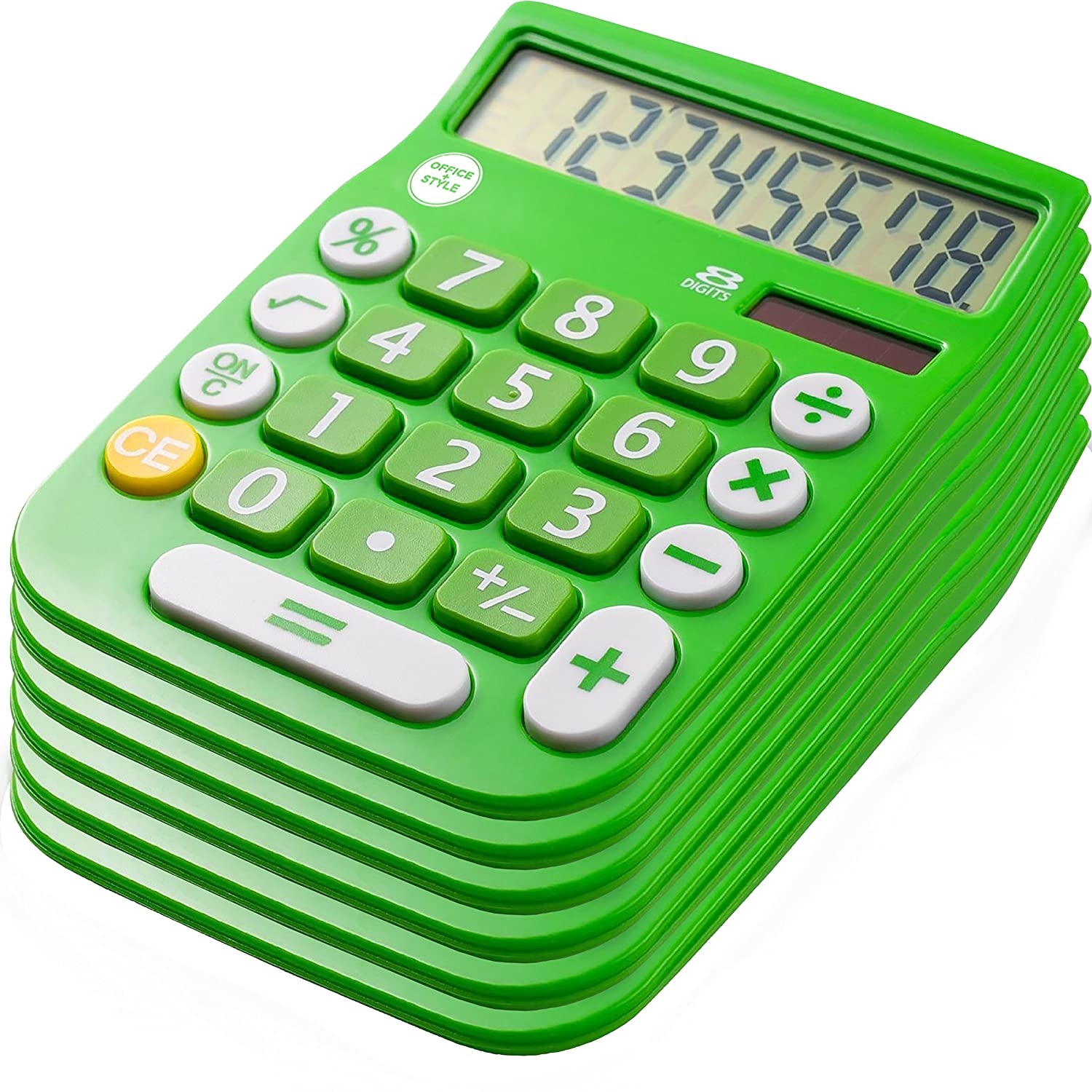 Office+Style 8 Digit Dual Powered Desktop Calculator, LCD Display, Purple Office Style OSPurlplecalc