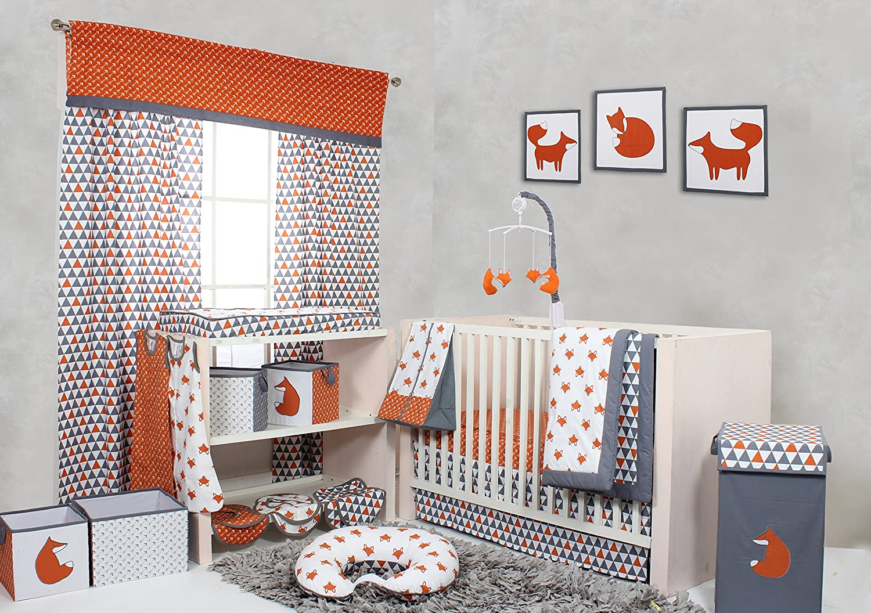 0fe7aa55531 Bacati - Playful Foxes Orange  grey Crib  toddler Bed Skirt  (Orange  Grey  Triangels ...