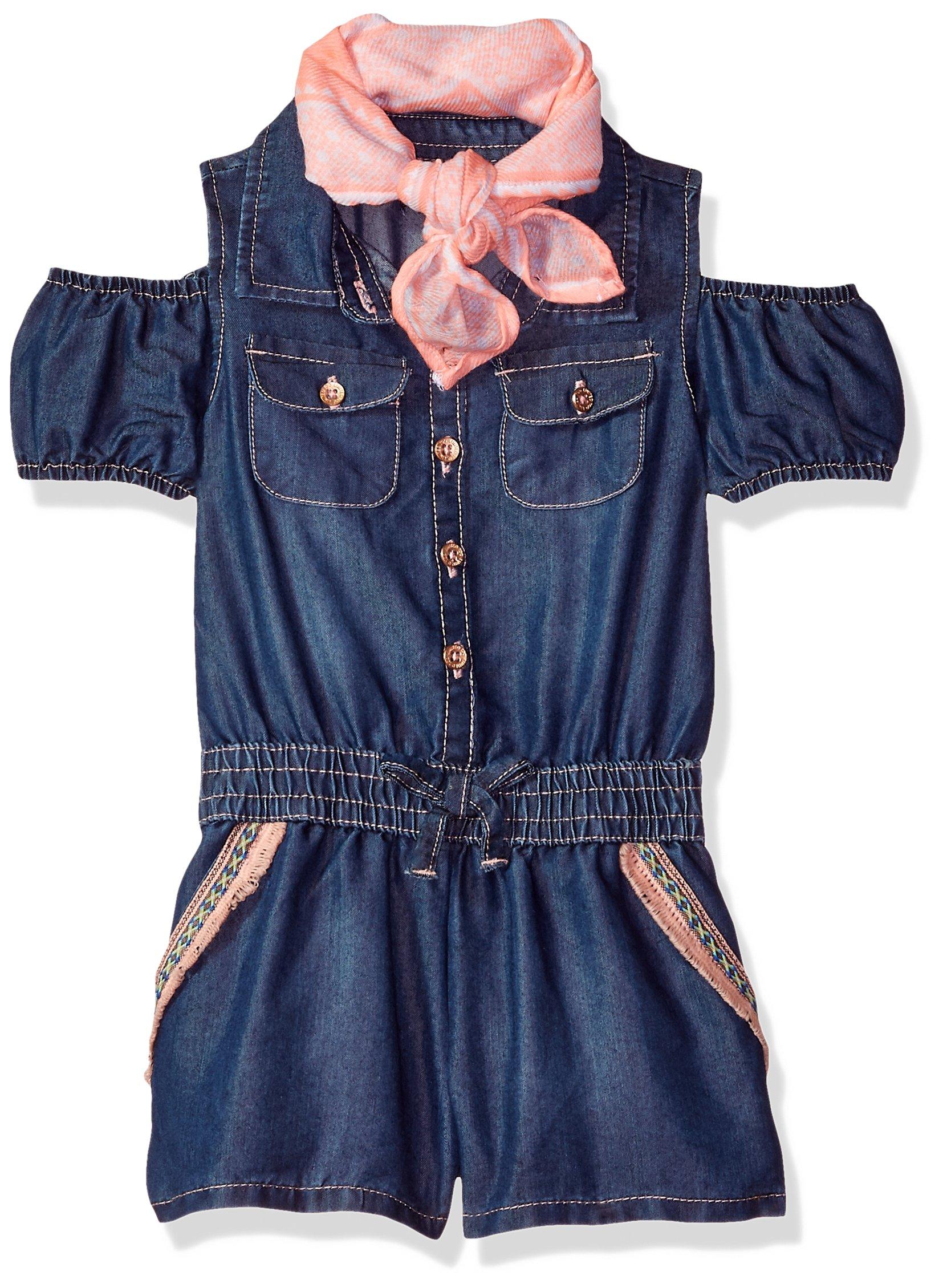Limited Too Girls' Toddler Romper, Cold Shoulder Fringe Tape Trim Dark Blue Denim, 2T