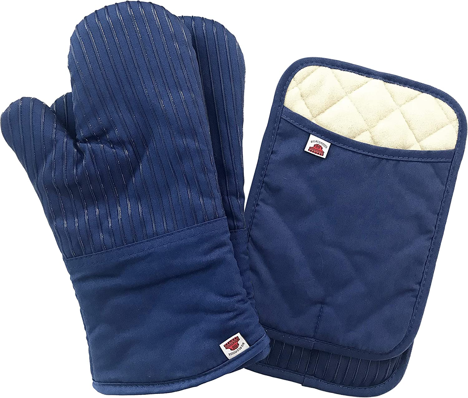 Big Red House Oven Mitts and Pot Holders Sets, with The Heat Resistance of Silicone and Flexibility of Cotton, Recycled Cotton Infill, Terrycloth Lining, 480 F Heat Resistant Pair Royal Blue