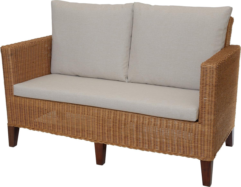 Rattan-Sofa 2-Sitzer LOUNGE in der Farbe Cognac inkl. Sitz- & Rückenpolster Beige, Couch aus echtem Rattan