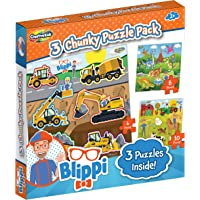 Blippi Chunky Puzzles for Toddlers - 3-in-1 Chunky Puzzle Set for Kids Ages 2+ - Wooden Animal Puzzle for 2 Year Old…