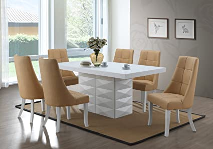 Kings Brand Furniture - Milan 7 Piece White Modern Rectangle Dinette Dining  Room Table & 6 Yellow Vinyl Chairs
