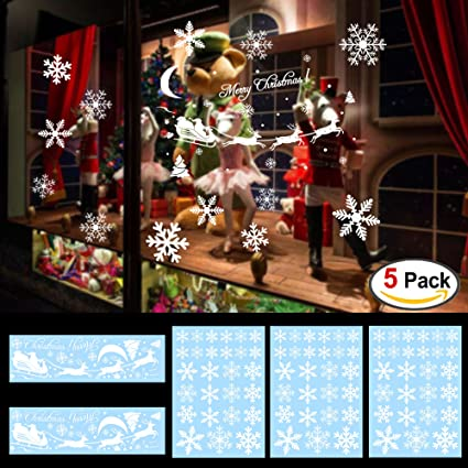 Amazoncom Designs Snowflake Window Clings Stickers For - Snowflake window stickers amazon