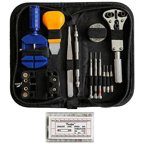 Kurtzy 300 piezas Reparación de Reloj Herramientas - Kit Reparar Relojes - Relojes Reparación - Juego