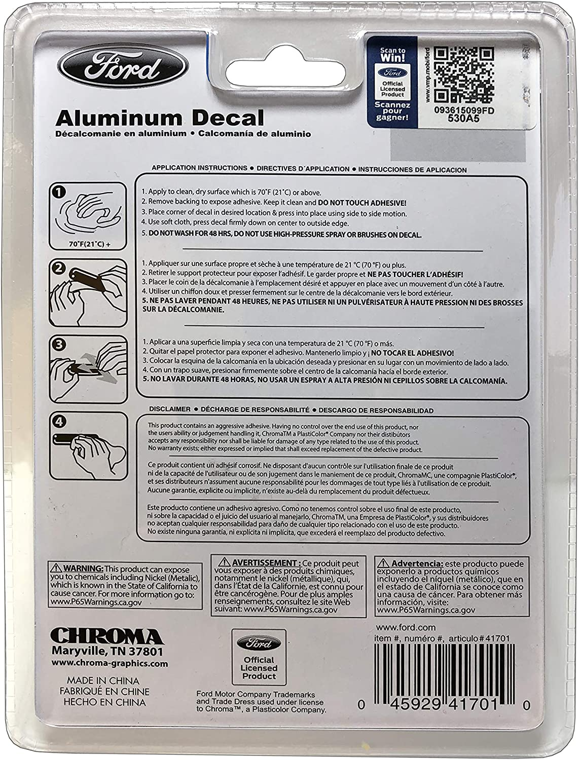 CHROMA 041701 Aluminum Decal