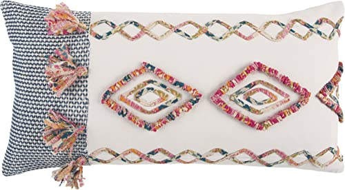 Rizzy Home T13112 Decorative Pillow, 14 x 26 , Pink Multi