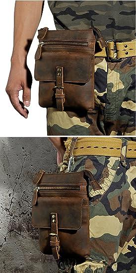 RABILTY Belt Holster Bag Fmeida Leather Fanny Waist Pack Crossbody Bag for Men Boy,Black Cowhide Travel Neck Pouch Color : Brown
