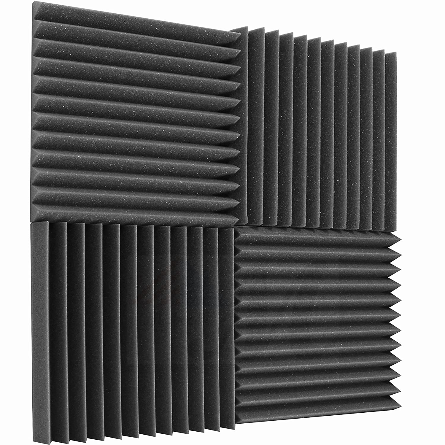 Mybecca 6 Pack Acoustic Foam Wedge 2 X 12 X 12 Studio Soundproofing Panels (6 Square Feet), Charcoal MB-Wedge2126