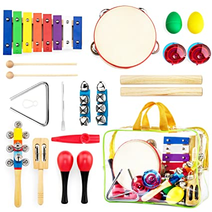 harmonyster musical instruments xylophone set for kids 18pcs baby wooden percussion band toys preschool