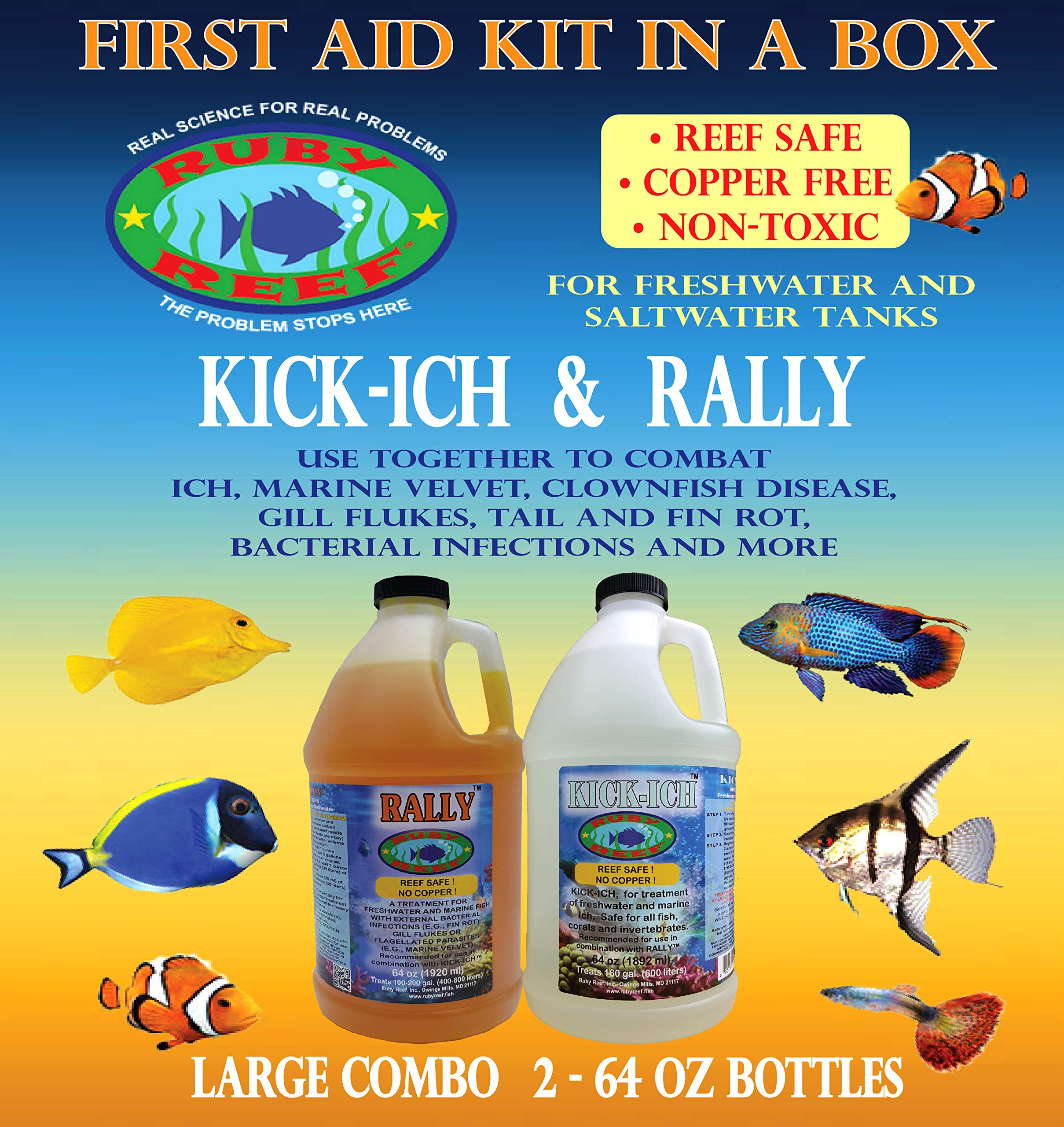 Ruby Reef ARR11163 Kich-Ich and Rally Aquarium Combo Pack Water Treatment , 64-Ounce