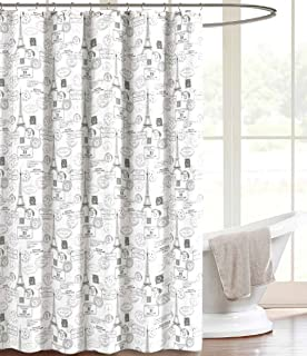 Grey White Canvas Fabric Shower Curtain Vintage Postal Paris Theme With Hooks