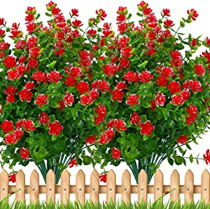 Artificial Flowers Outdoor Plastic Plants - 6 Bundles Outside Face Mums Fake Winter Greenery UV Resistant No Fade Faux Shrubs Garden Porch Patio Christmas Home Decoration Office Indoor (Red)