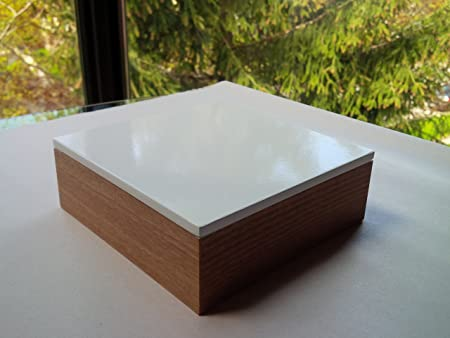 Modern Lacquer Multipurpose Storage Box, Square, White, 5.9 X 5.9 X 2 Inches