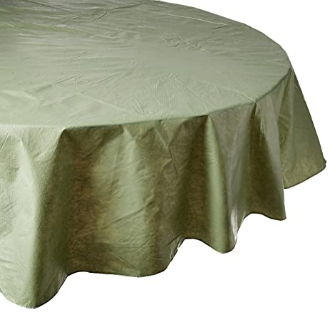 Carnation Home Fashions Vinyl Tablecloth With Polyester Flannel Backing, 70 Inch  Round, Sage