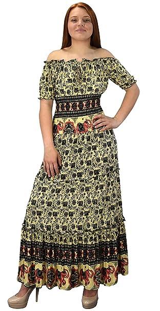 b257da0c8e Peach Couture Gypsy Boho Floral Printed Smocked Waist Tiered Renaissance  Maxi Dress