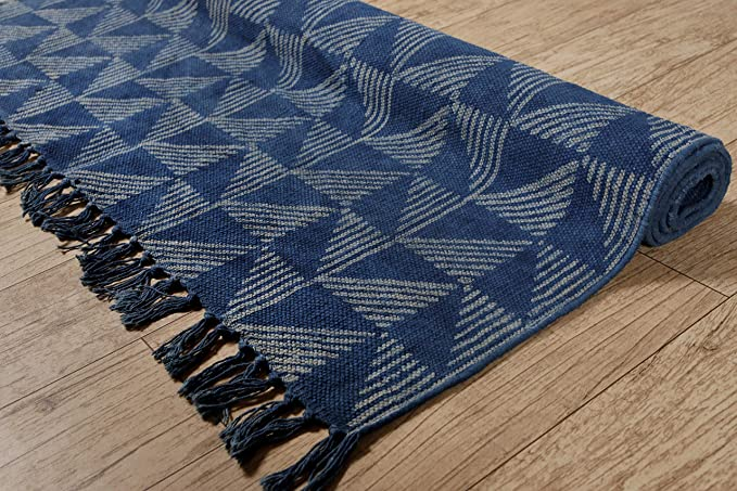 Decorative Cotton Area Rug Boho Hand Loomed Carpet Handmade Block Print Yoga Mat