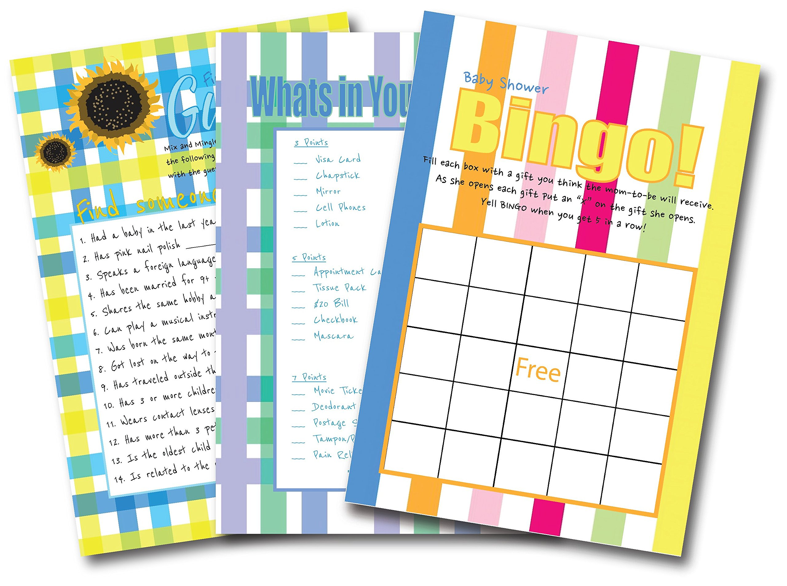 Baby Shower Games For Gender Neutral | By L&P Designs | Baby Party Ideas (Find The Guest, What's In Your Purse, and Bingo)