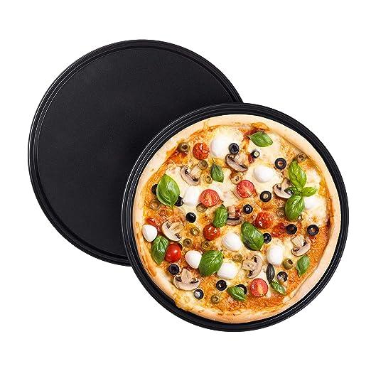 Relaxdays Juego de 2 Bandejas Pizza Horno Redondas y ...