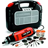 Black and Decker RT650KA-QS - Miniherramienta multiuso 90 W con 87 accesorios y maletín (230 V) color naranja