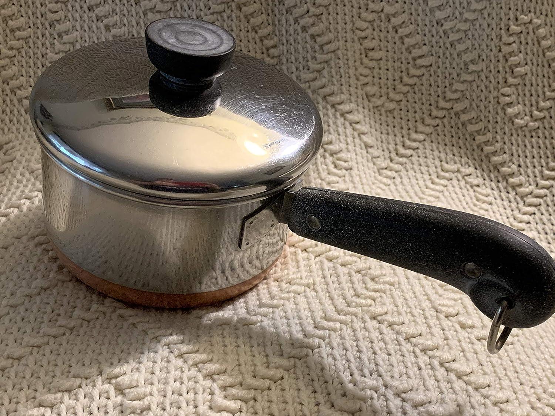 Vtg Revere Ware Copper Bottom 1qt Double Ring Saucepan