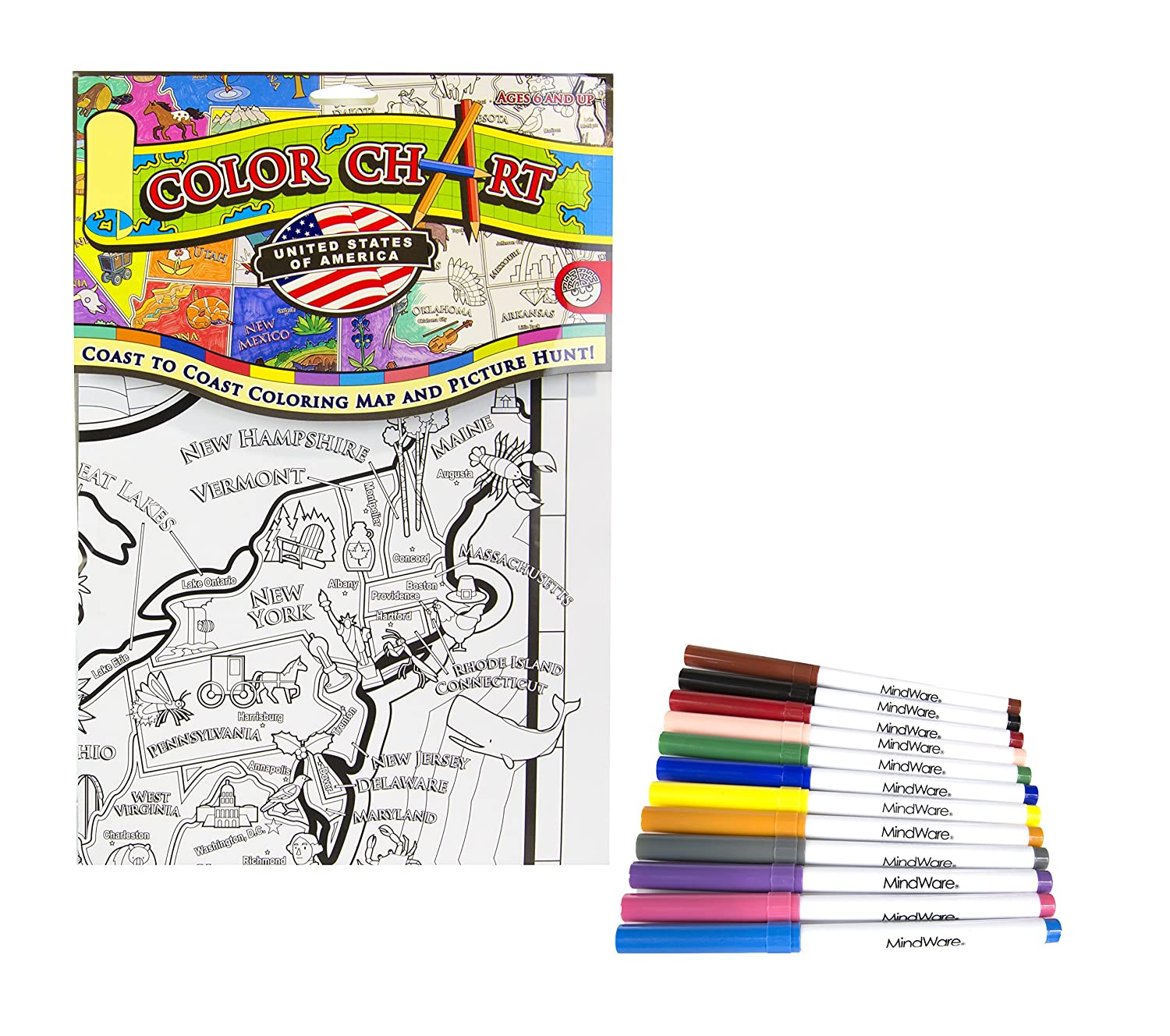 Amazoncom MindWare Color Chart USA Coloring Map and Picture