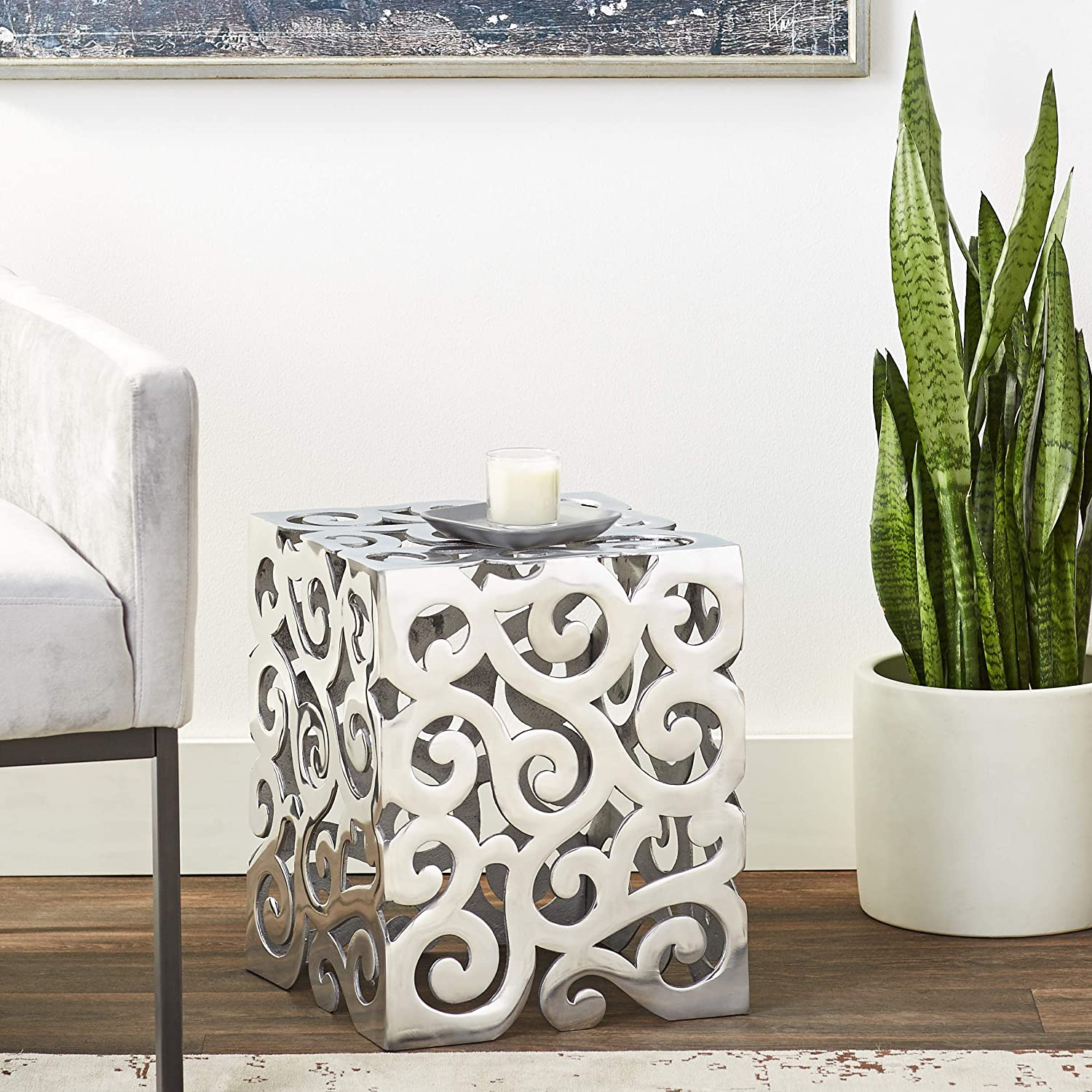 Office Lobby Art Home Aluminum Square 12 x 12 x 17 Silver Modern Day Accents Paisley Stool Chair Modern Statement Living Room