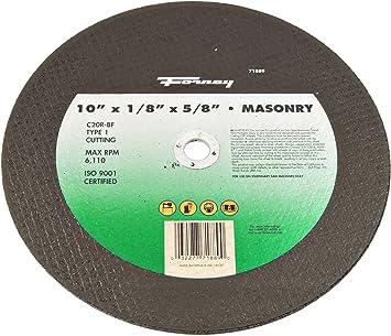 Forney 71889 Chop Saw Blade With 5 8 Inch Arbor Masonry Type 1 C20r Bf 10 Inch By 1 8 Inch Power Saw Blades Amazon Com