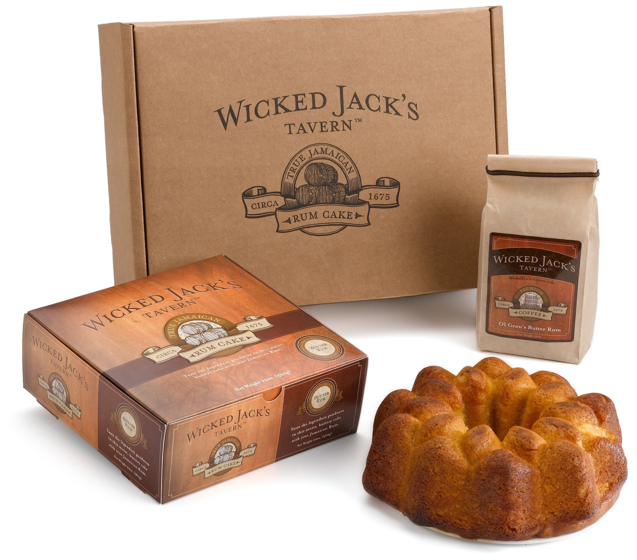 Wicked Jack's Tavern Captain's Stash Gift Box (20-Ounce Rum Cake & 12-Ounce Old Gran's Butter Rum Ground Coffee)