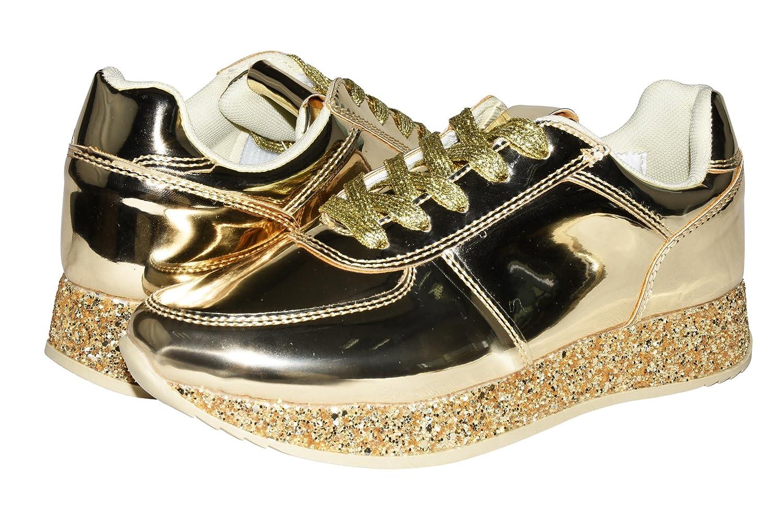 d84f163c072b ROXY ROSE Women Fashion Metallic Sneaker Glitter Flatform Quilted Lace Up  Casual Shoes  Amazon.ca  Shoes   Handbags