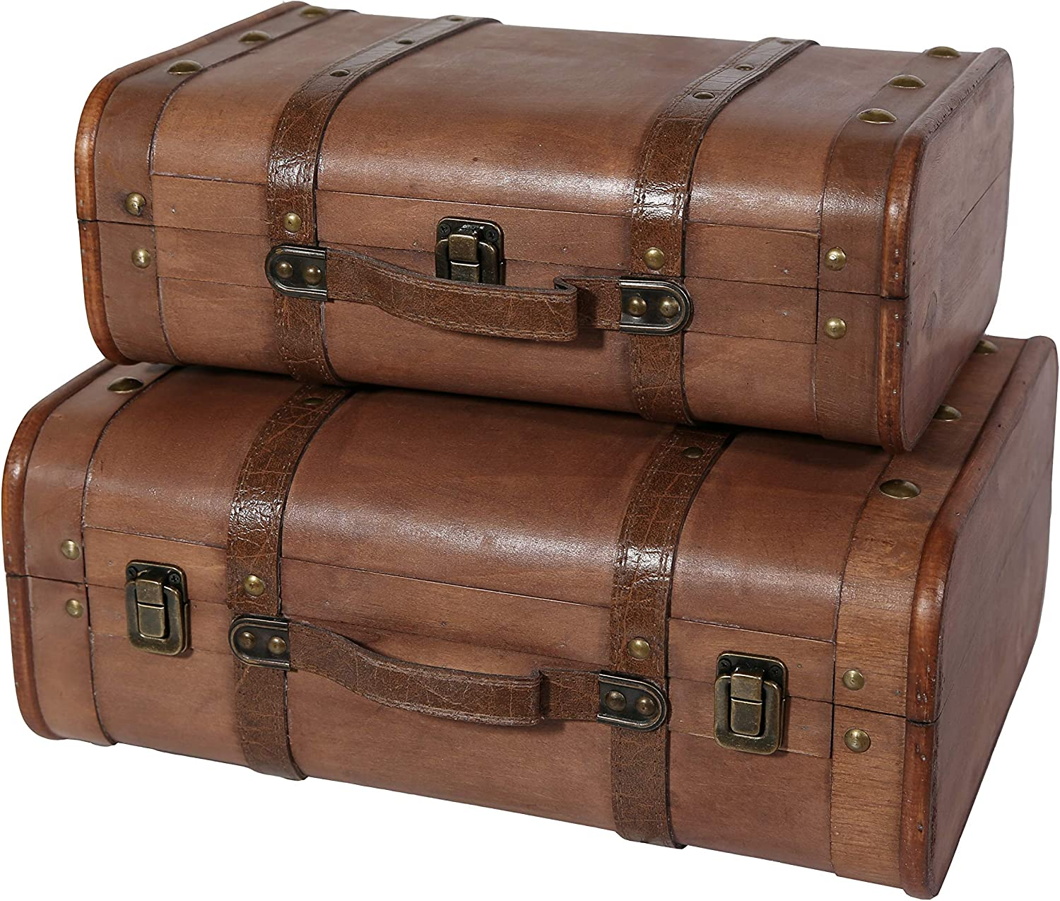 Soul & Lane Abby Decorative Wooden Chest Suitcases - Set of 2 | Storage Wood Trunk Boxes