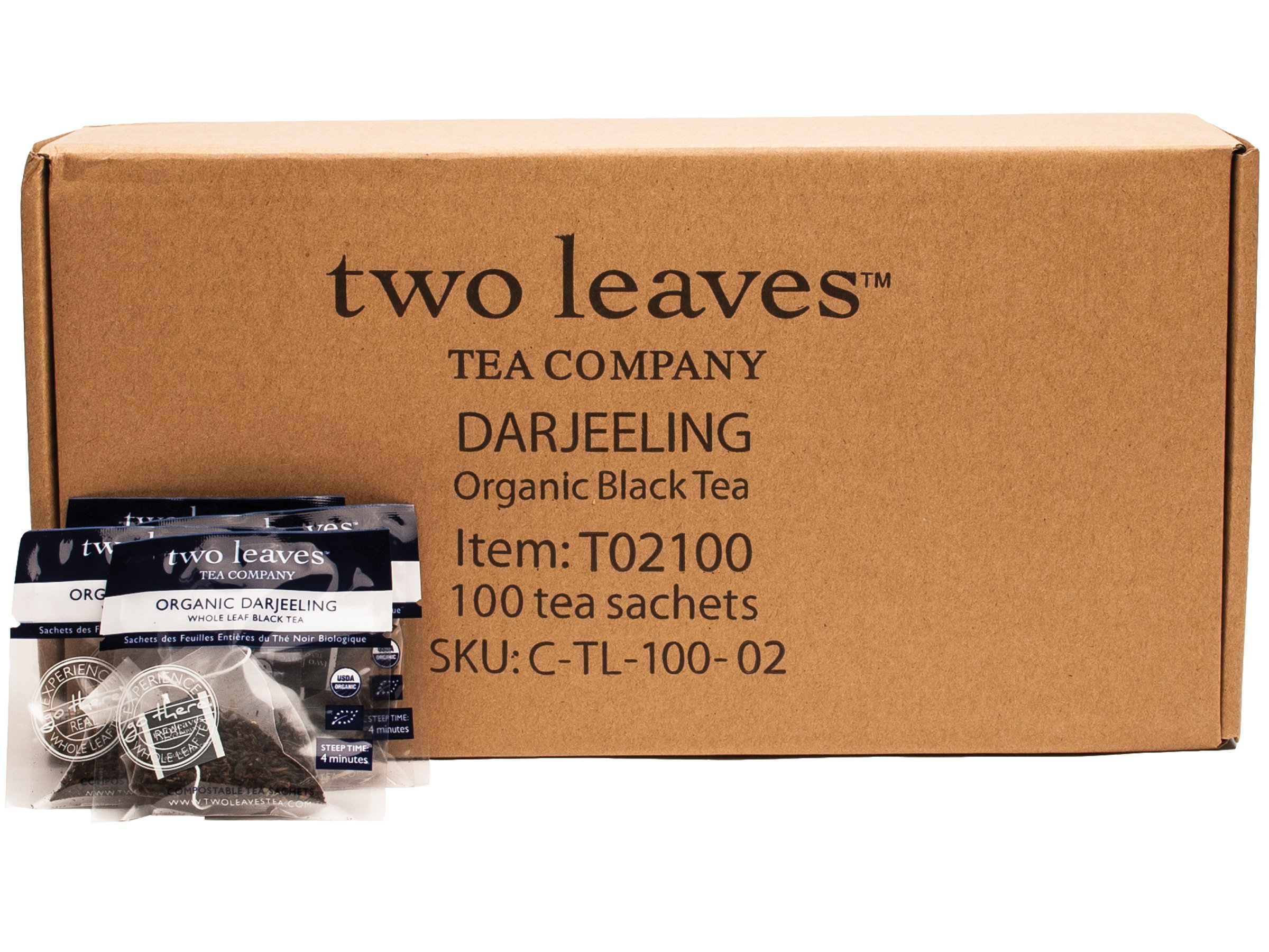 CDM product Two Leaves and a Bud Organic Darjeeling Black Tea Bags, 100 Count, Organic Whole Leaf Full Caffeine Black Tea in Pyramid Sachet Bags, Delicious Hot or Iced with Milk, Sugar, Honey or Plain big image