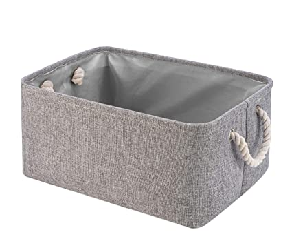 Genial Collapsible Storage Basket Bins, Decorative Foldable Rectangular Linen Fabric  Storage Box Cubes Containers With Handles