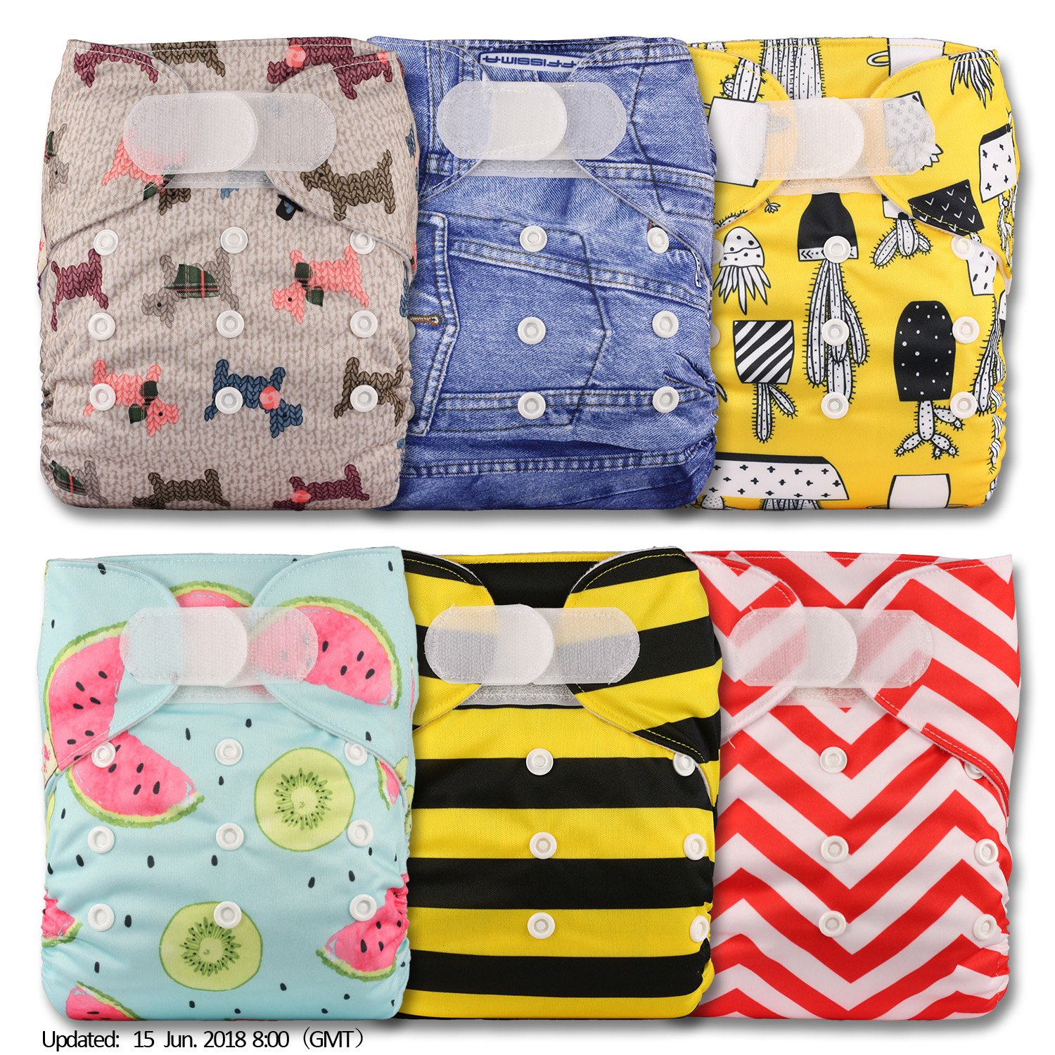 Littles /& Bloomz Reusable Pocket Cloth Nappy Fastener: Hook-Loop with 6 Microfibre Inserts Patterns 608 Set of 6