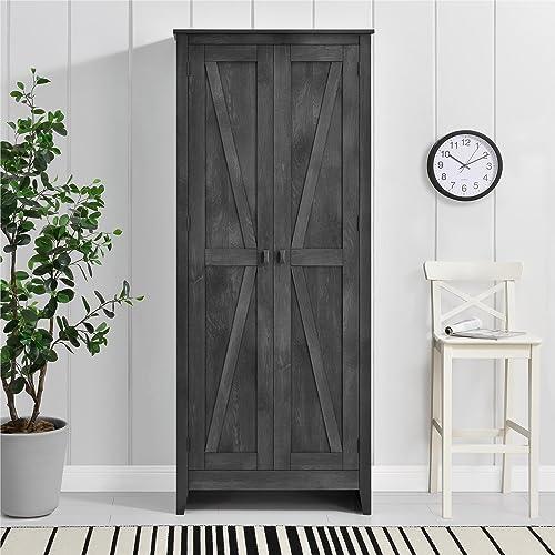 Ameriwood Home Farmington Wide Storage Cabinet, 31.5 , Rustic Gray