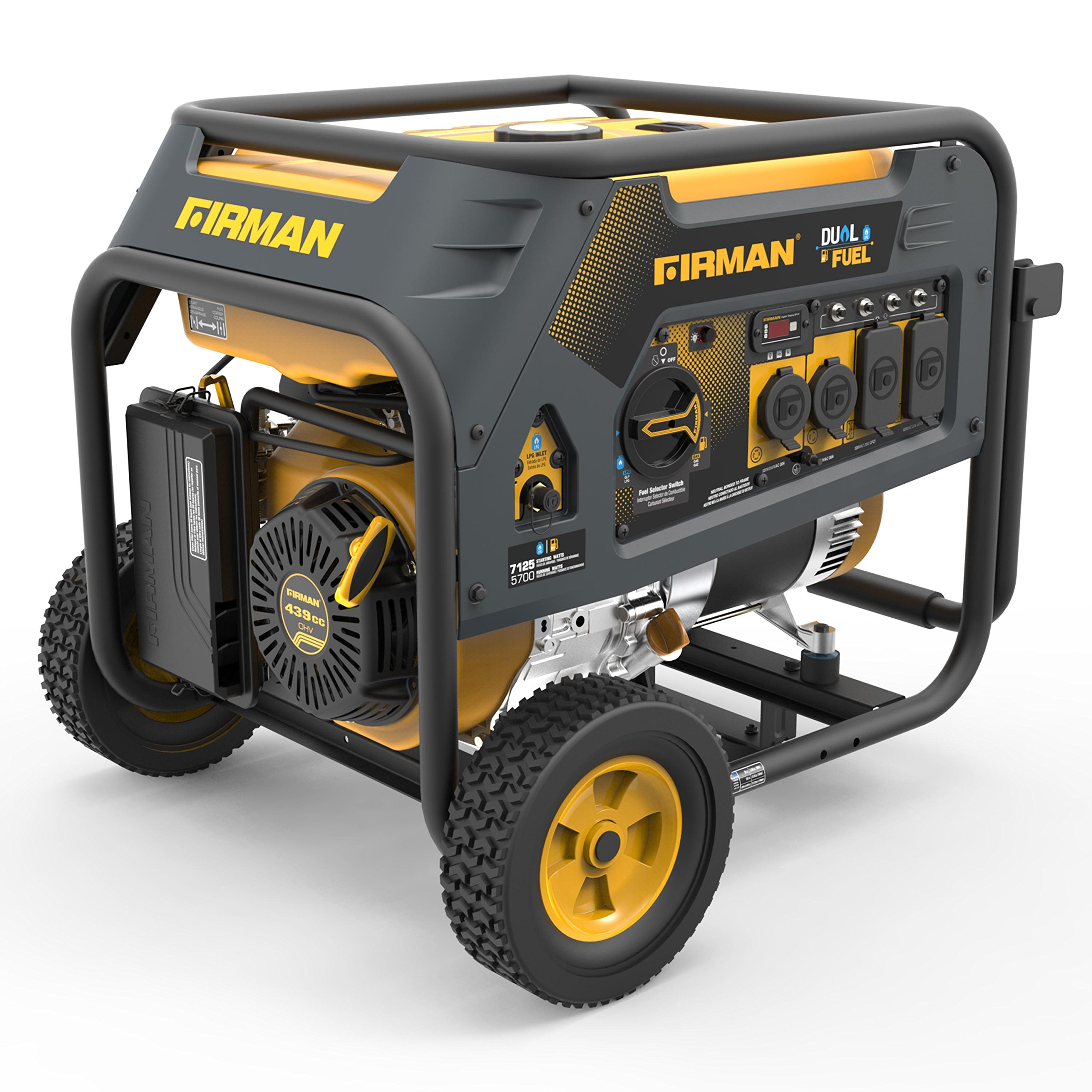 Firman H05752 7125/5700 Watt 120/240V Recoil Start Gas or Propane Dual Fuel Portable Generator by Firman