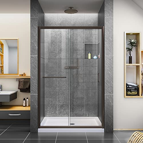 DreamLine Infinity-Z 36 in. D x 48 in. W x 74 3 4 in. H Clear Sliding Shower Door in Oil Rubbed Bronze and Center Drain White Base, DL-6975C-06CL