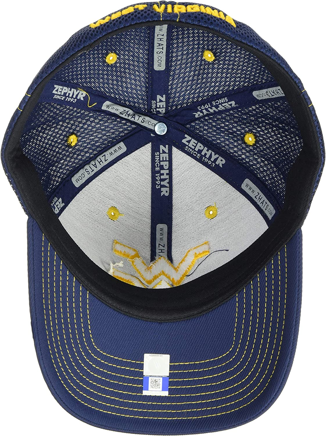Small NCAA Zephyr West Virginia Mountaineers Mens Pregame 2 Performance Hat Primary Team Color