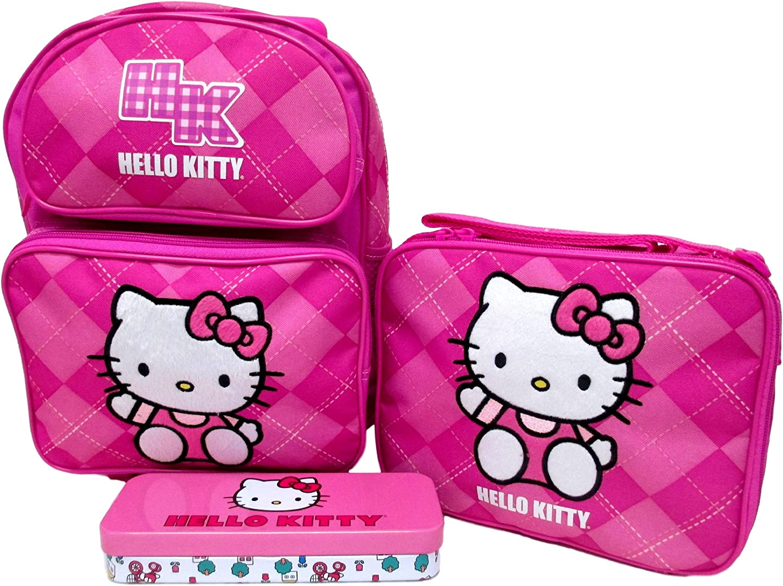 Lunch Box /& Pencil Case Set Hello Kitty Preschool Medium 12 Rolling Backpack Roller Wheeled Book Bag